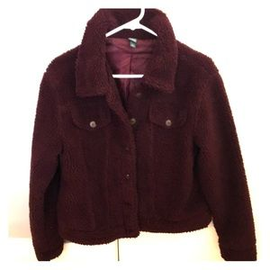 Wild fable burgundy, fleece jacket CUTE Size Small